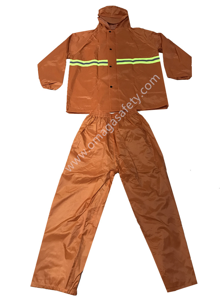 COLOR ORANGE RAINCOAT PANTS AND JACKET CODE: MG-08