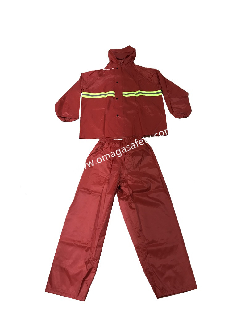COLORED RED RAINCOAT PANTS AND JACKET CODE: MG-10